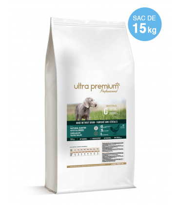 Croquettes Grain Free Sans Céréales - Natural Hunter - Chien Adulte de Taille Moyenne - 15 kg