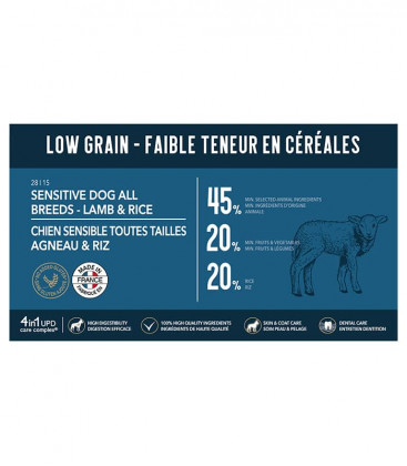 Croquettes Low Grain Agneau et Riz (indiqué pour les chiens sensibles, matures, en surpoids/stérilisés)