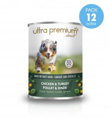 Boîtes de pâtée pour chien sans céréales – Poulet & Dinde, carotte, épinard