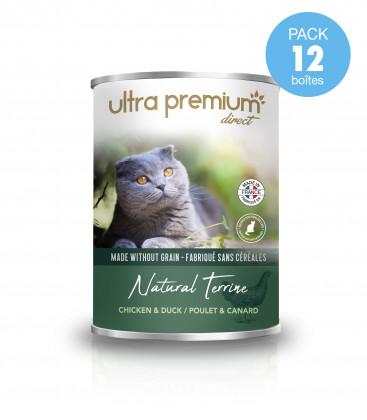 12 Boîtes de terrine pour chat sans céréales - Natural Terrine Poulet & Canard