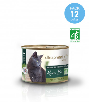 12 Boîtes de Mousse BIO pour chat sans céréales - Volaille